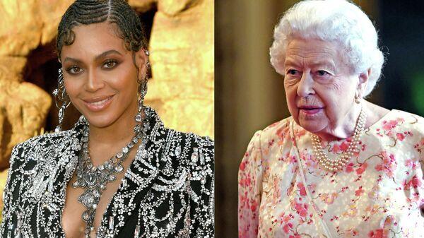 Американская певица Бейонсе Ноулз и королева Великобритании Елизавета II
