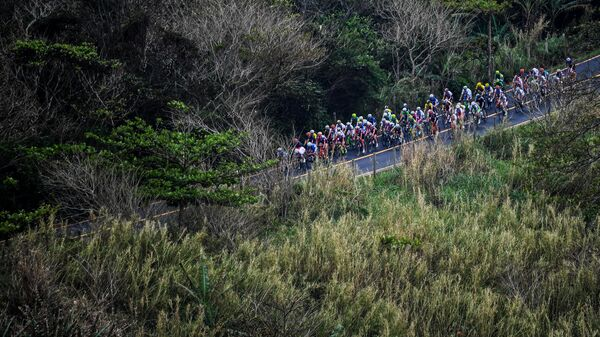 Спортсменки во время гонки на соревнованиях по велоспорту на шоссе