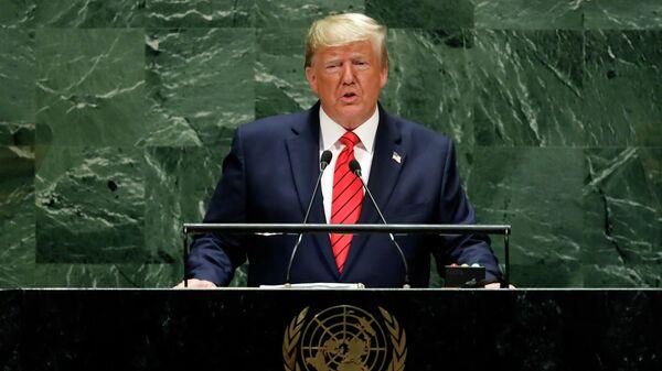 Президент США Дональд Трамп выступает на 74-й сессии Генеральной Ассамблеи ООН