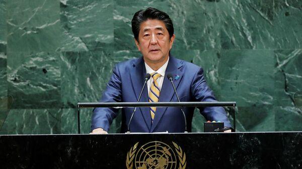 Премьер-министр Японии Синдзо Абэ выступает на 74 сессии Генассамблеи ООН
