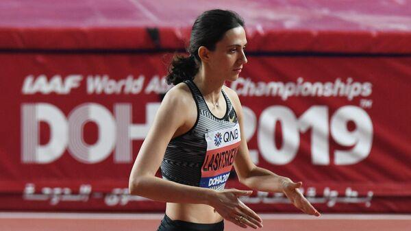 Российская спортсменка Мария Ласицкене в квалификационных соревнованиях по прыжкам в высоту среди женщин на чемпионате мира по легкой атлетике 2019 в Дохе.
