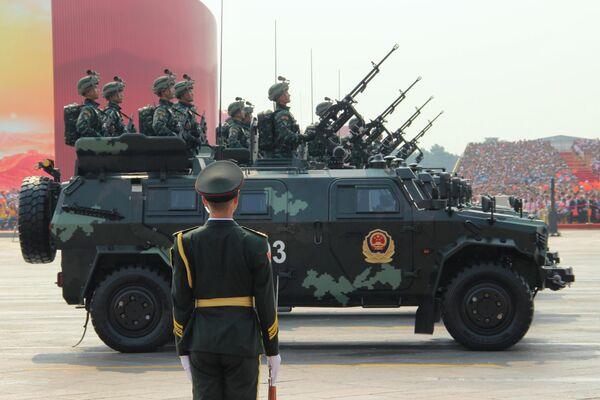 Антитерорристическая вооруженная полиция Китая на военном параде, приуроченном к 70-летию образования Китая, в Пекине