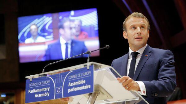 Президент Франции Эммануэль Макрон выступает на Парламентской ассамблее Совета Европы в Страсбурге