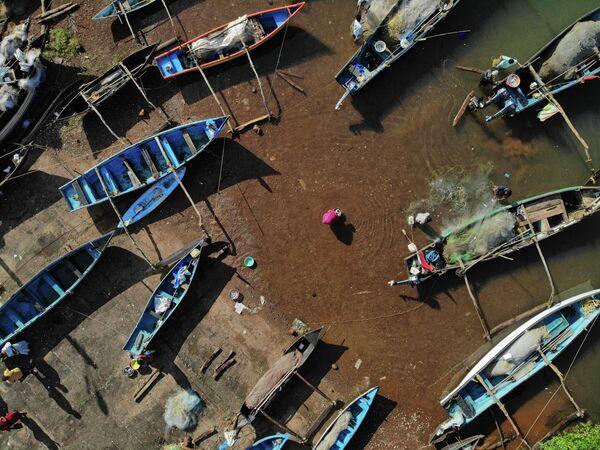 Торговля рыбой в рыболовецком порту в Агонде, Гоа