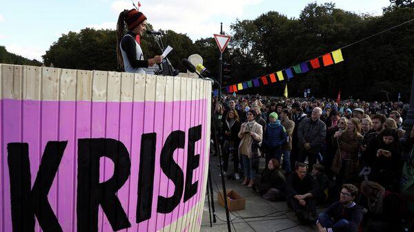 Демонстрация активистов экологического движения Extinction Rebellion в Берлине. 7 октября 2019