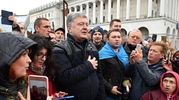 Бывший президент Украины Петр Порошенко на акции Нет Капитуляции против согласования Киевом формулы Штайнмайера