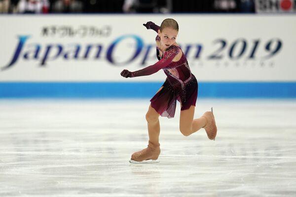 Российская фигуристка Александра Трусова во время выступления на Japan Open 2019
