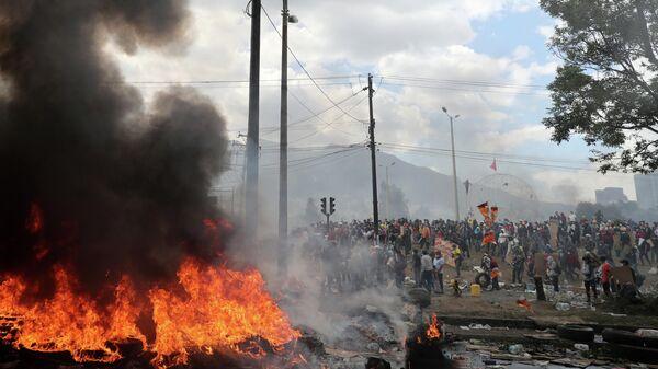 Участники акции протеста в Кито, Эквадор