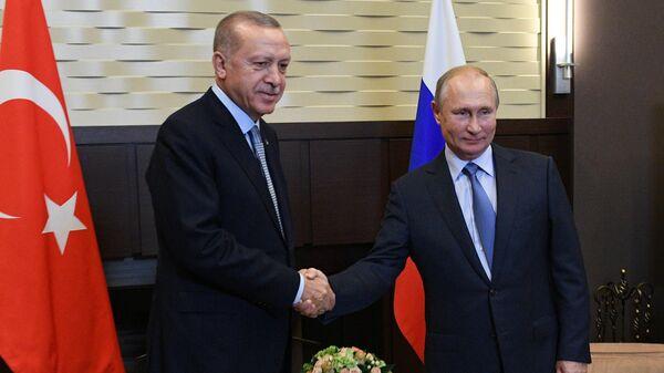 Президент РФ Владимир Путин и президент Турции Реджеп Тайип Эрдоган во время встречи. 22 октября 2019