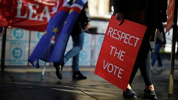 Сторонники Brexit у здания Парламента в Лондоне