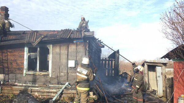Пожар в доме на станции Ленинск в Еврейской автономной области