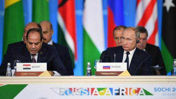 Президент РФ Владимир Путин и сопредседатель саммита президент Арабской республики Египет Абдель Фаттах ас-Сиси на первом пленарном заседании саммита Россия - Африка