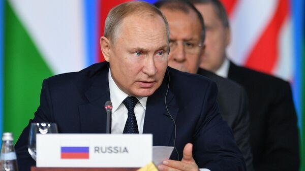 Президент РФ Владимир Путин на первом пленарном заседании саммита Россия - Африка. 24 октября 2019