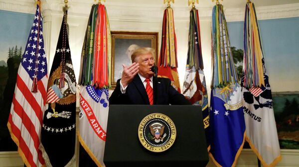 Президент США Дональд Трамп во время заявления о ликвидации лидера ИГ* аль-Багдади