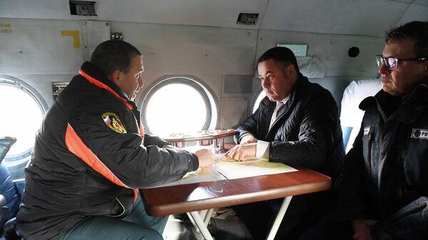 Губернатор Тверской области Игорь Руденя совершает облет территорий, где было нарушено энергоснабжение