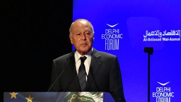 Генеральный секретарь Лиги арабских государств (ЛАГ) Ахмед Абуль Гейт во время выступления на европейско-арабском саммите в Афинах