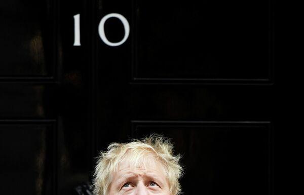 Премьер-министр Великобритании Борис Джонсон во время фотосессии на Дауинг-стрит, 10