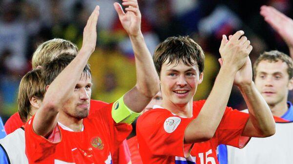 Футболисты сборной России Сергей Семак и Динияр Билялетдинов на ЕВРО-2008