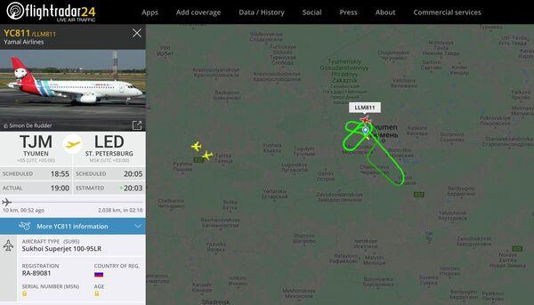 Информация о рейсе Тюмень - Санкт-Петербург на сайте Flightradar. 1 ноября 2019