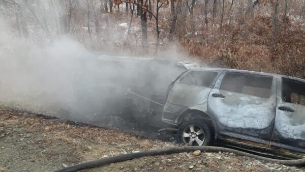 Пожар на месте ДТП в Смидовичском районе, Еврейской автономной области. 5 ноября 2019