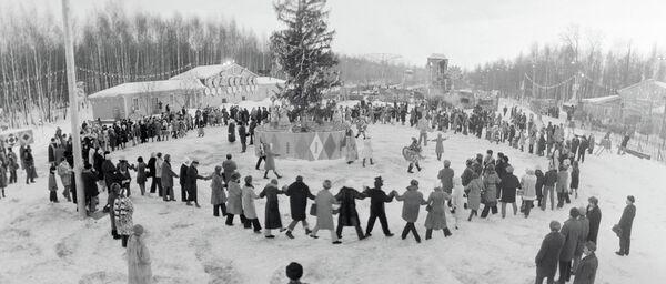 Жители Москвы празднуют Новый год в Измайловском парке