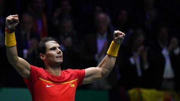 Рафаэль Надаль (Испания) радуется победе
