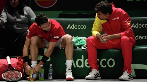 Испанский теннисист Роберто Баутиста-Агут и капитан сборной Серхи Бругера