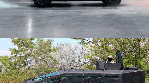 Автомобиль Tesla Cybertruck (вверху) и бронемашина ФСБ России Фалькатус