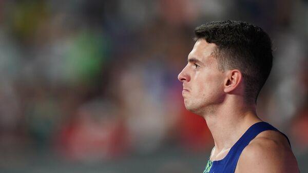 Российский спортсмен Илья Иванюк в финале соревнований по прыжкам в высоту среди мужчин на чемпионате мира по легкой атлетике 2019 в Дохе.