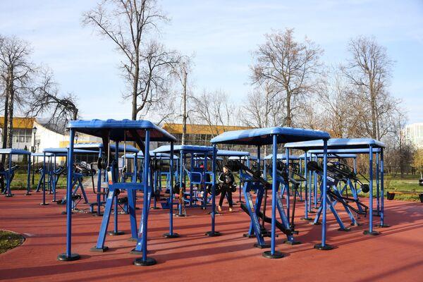 Спортивные тренажеры на территории Детского Черкизовского парка в Москве