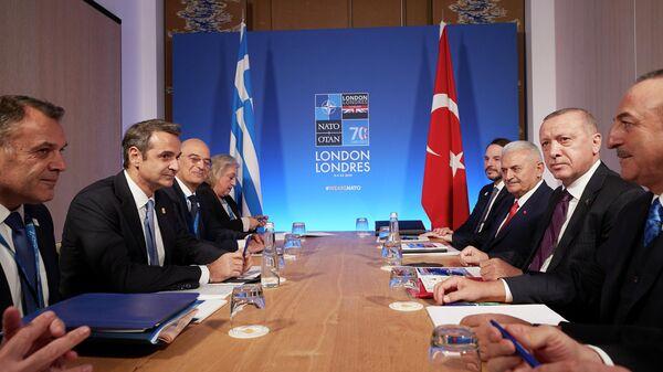 Встреча премьер-министра Греции Мицотакиса и президента Турции Эрдогана. 4 декабря 2019