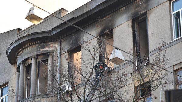 Последствия пожара в колледже в Одессе