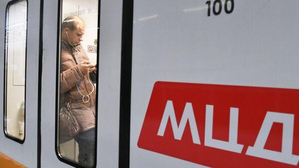 Пассажир в поезде Московского центрального диаметра