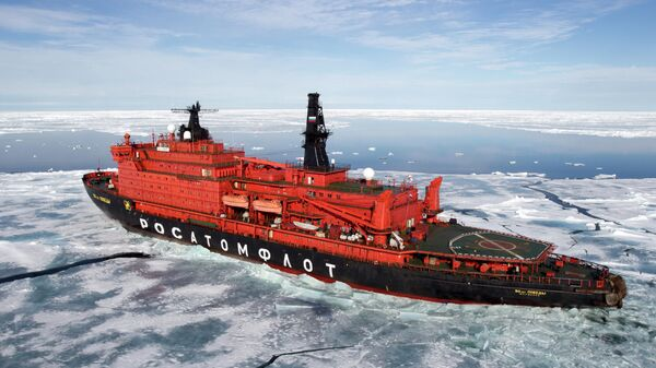 Атомный ледокол 50 лет Победы в Северном Ледовитом океане