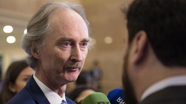 Представитель ООН на переговорах по Сирии Гейр Педерсен принимает участие в 14-м раунде переговоров по урегулированию ситуации в Сирии в Нур-Султане