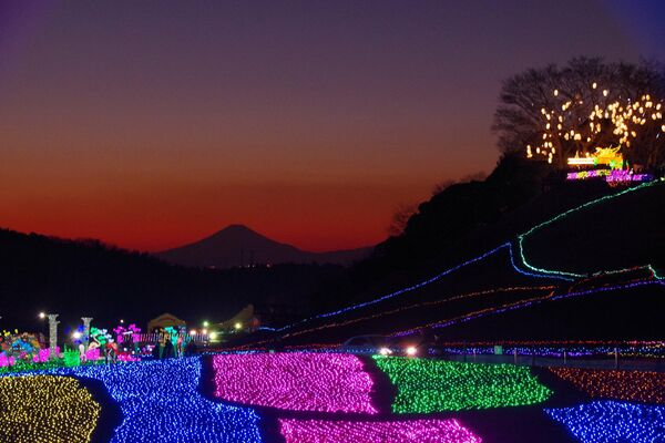 Ночная иллюминация в пригороде Токио