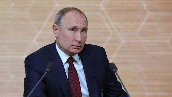 Президент РФ Владимир Путин на большой ежегодной пресс-конференции