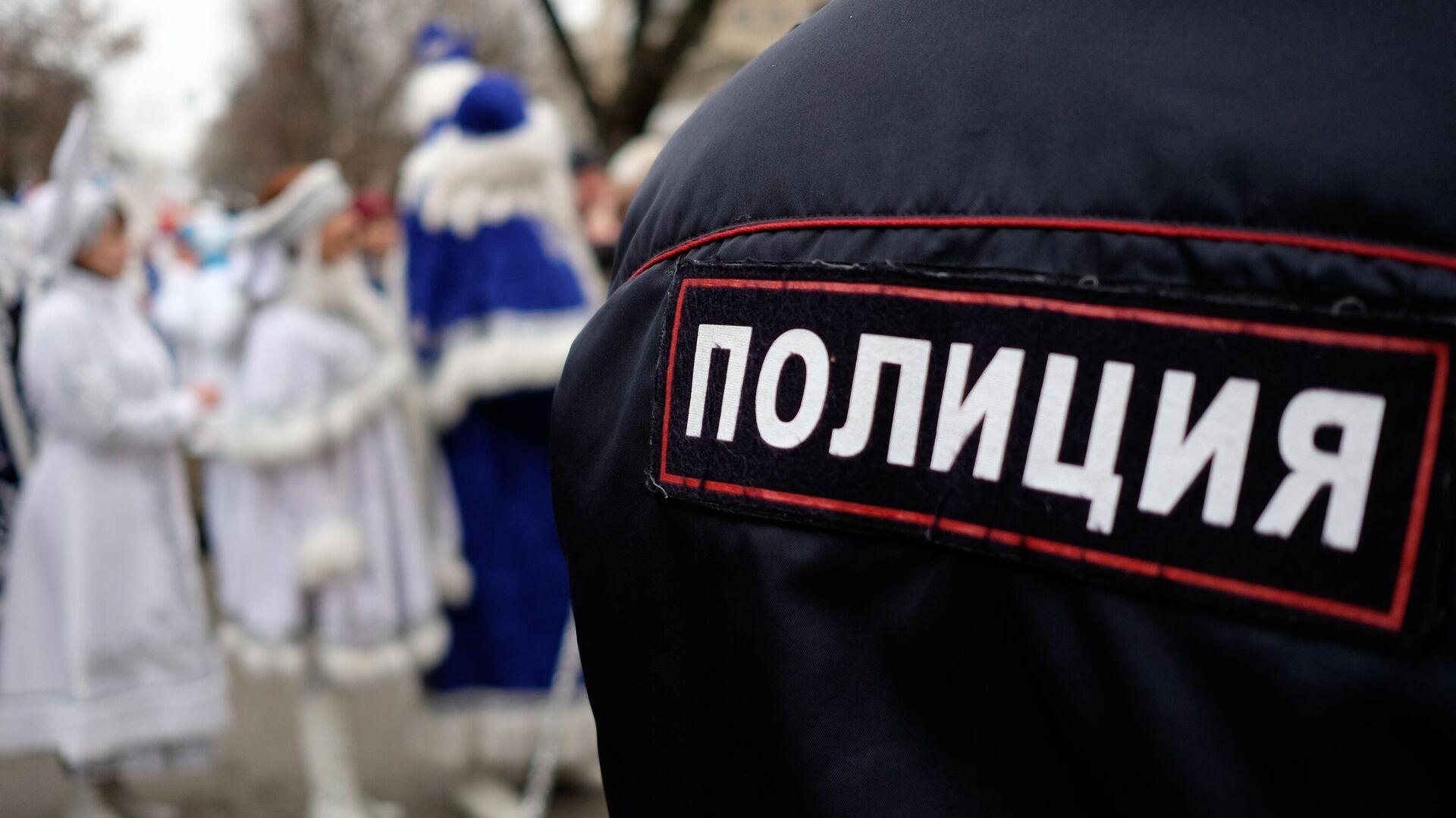 Сотрудник полиции во время праздничного шествия Дедов Морозов  - РИА Новости, 1920, 13.01.2021