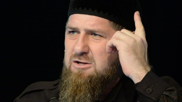 Глава Чеченской Республики Рамзан Кадыров на пресс-конференции в студии телеканала Грозный
