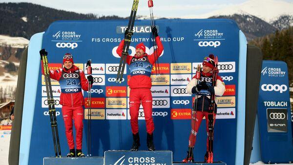 Награждение российских лыжников на Тур де Ски