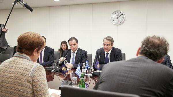 Премьер-министр Греции Кириакос Мицотакис во время встречи с главой МВФ Кристалиной Георгиевой. 7 января 2019