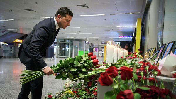 Президент Украины Владимир Зеленский возложил цветы к фотографиям погибших в авиакатастрофе в Иране в киевском аэропорту Борисполь