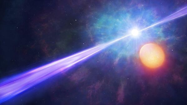 Так в представлении художника выглядит мощный гамма-всплеск в двойной звездной системе