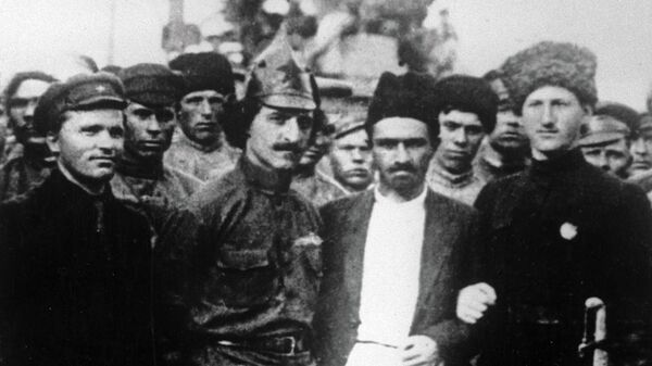 Сергей Киров, Серго Орджоникидзе, Анастас Микоян и Михаил Ефремов в годы гражданской войны