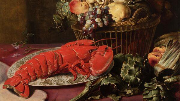 Франс Снейдерс. Натюрморт с лобстером, артишоками, спаржей и фруктами
