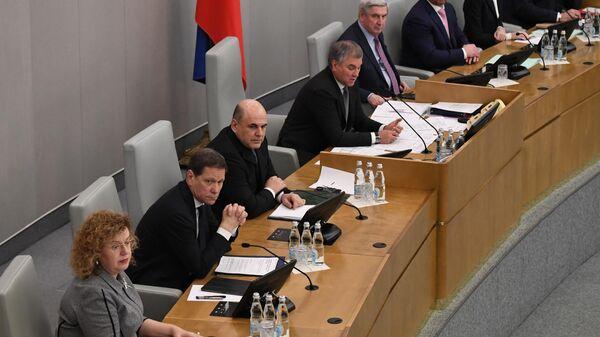 Кандидат на пост премьер-министра РФ Михаил Мишустин на пленарном заседании Государственной Думы РФ