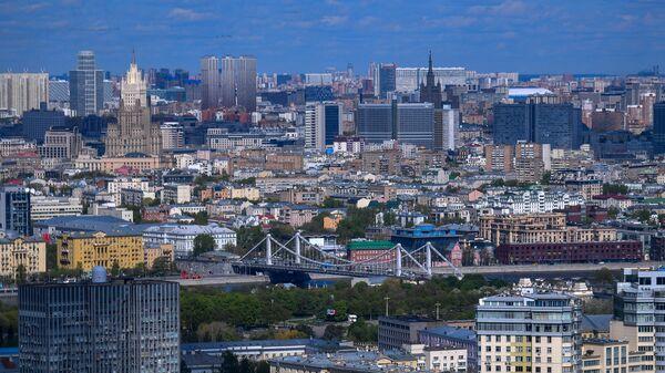 Вид на Москву из вертолета
