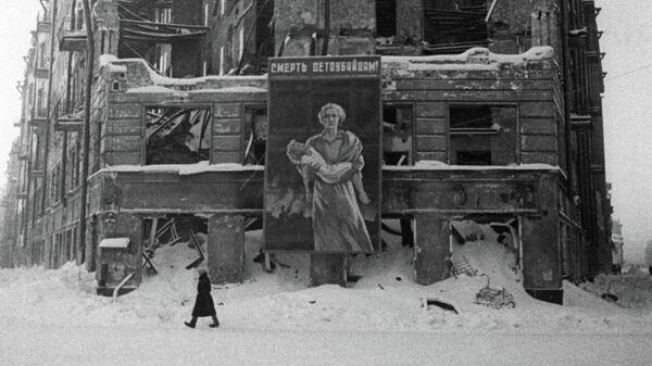 Разрушенный жилой дом на Лиговском проспекте в результате бомбежки Ленинграда