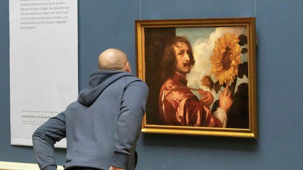Автопортрет с подсолнухом неизвестного художника в музее Duke Museum в Готе, Германия