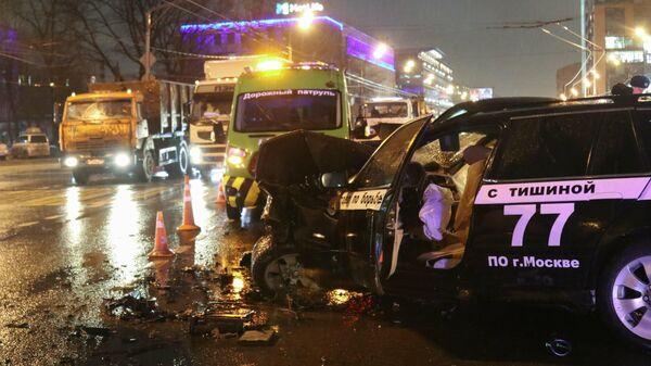 Последствия ДТП с участием шести автомобилей на северо-востоке Москвы